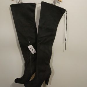 Shoes - Above the knee faux suede boots